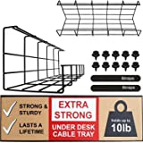 Under Desk Cable Management Tray - Under Desk Cable Organizer for Wire Management. Super Sturdy Desk Cable Tray. Perfect Stan