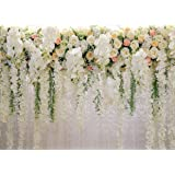 AIIKES 7x5FT Bridal Flowers Wall Backdrop Curtain Floral 3D Rose Wedding Party Photography Background Photo Baby Shower Birth