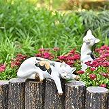Sungmor Lovely Sleeping Cat Garden Statue - Decorative Indoor Outdoor Landscaping Cat Statue Ornaments - Home Garden Yard Pla