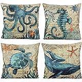 VAKADO Mediterranean Nautical Outdoor Throw Pillow Covers Beach Sea Turtle Octopus Whale Seahorse Coastal Cushion Cases 16x16