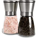 Noosa Life | Salt and Pepper Grinder Set - Premium Stainless Steel | Salt and Pepper Shakers with Adjustable Coarseness | Sal