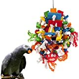 MEWTOGO Large Parrot Toy - Multicolored Wooden Blocks Tearing Toys for Birds Suggested for African Grey Cockatoos, and a Vari