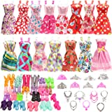 BARWA 32 pcs Barbi Doll Clothes and Accessories 10 pcs Party Dresses 22 pcs Shoes, Crown, Necklace Accessories for 11.5 inch