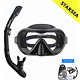 STARSEA Diving Snorkeling Kit for Adults and Kids Snorkel Set for Swimming and Scuba Diving, Anti Leak Dry Top Snorkel Gear P