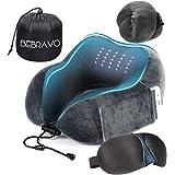 ネックピロー 飛行機 低反発 U型まくら BeBravo 旅行用 携帯枕 昼寝 首枕 コンパクト 通気性が良く 軽量 3Dアイマスク 収納袋付き
