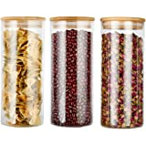 COPDREL Glass Food Storage Jars Containers with Airtight Bamboo Lids Set of 3 Kitchen Glass Canisters For Coffee, Flour, Suga