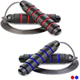 Redify 2 Pack Adjustable Jump Rope for Boxing MMA Crossfit Training, Fitness Jump Rope for Men Women and Kids, Speed Jumping