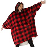 THE COMFY Original | Oversized Microfiber & Sherpa Wearable Blanket, Seen On Shark Tank, One Size Fits All (Red Plaid)