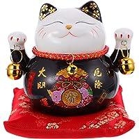 iplusmile 招き猫 貯金箱 セラミック製 縁起物 開運 猫の置物 飾り 両手上げ かわいい おしゃれ ブラック