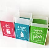(Plastic) - Recycle Bin Separate Recycle Bag Waste Baskets Compartment Container with Inner Frame (3 Bins + 3 Inner Frames) b