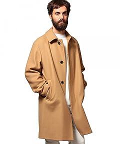 Melton Balmacaan Coat 1225-104-7330: Beige