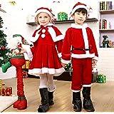 Emfay サンタ コスプレ衣装 子供服 サンタクロース 帽子付き 着ぐるみ クリスマス衣装 プレゼント袋 女の子 110cm