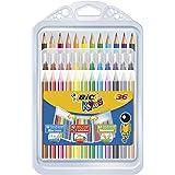 BIC 8877011 Kids Colouring Set - 8 Marker Felt Pens/8 Colouring Pencils/12 Colouring Crayons, Assorted Colours, Portable Case