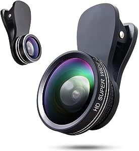 YIEASY 簡単なインストールを対応する全てのモデルのためのレンズカメラレンズキットは、カメラレンズクリップオンスマートフォン用レンズ3点セットフィッシュアイレンズ、広角レンズ、マクロレンズ自体を取り 3in1のの 黑