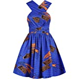 Multifit Women's Boho African Floral Print Pleated Dress Sleeveless Dashiki Multi-Way Short Midi Dress for Casual Club Party