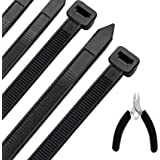 Honyear 24 inch Cable Zip Ties Heavy Duty (with Wire Cable Cutters) Strong Large Black Zip Ties with 175 pounds Tensile Stren