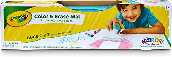 Crayola Color & Erase Mat, Bright Colours wipe clean, Features Color Pop Washable Inks, Perfect for Travel, Drawings...