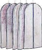 アストロ 洋服カバー マチ付 5枚 ロング 不織布 ファスナー 透明窓 防虫剤ポケット付き 底までカバー 110-49