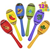 12 Mini Wooden Fiesta Maracas 6 Designs Noisemaker for Mexican Fiesta, Cinco De Mayo Party Favors, Musical Fun, Birthday Part