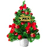 TIOVERY Tabletop Christmas Tree, 20 Inch Mini Small Christmas Artificial Pine Green Tree with Decorated Red Balls Baubles Orn