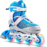 PAPAISON Fly Knitting Upper Adjustable Illuminating Inline Skates for Boys and Girls with Full Light up Wheels, Beginner Roll