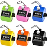 Ktrio Pack of 6 Colour Hand Tally Counter 4 Digit Tally Counter Mechanical Palm Click Counter Count Clicker Assorted Colour H