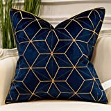 Avigers Navy Blue Gold Striped Cushion Cases Luxury European Throw Pillow Covers Decorative Pillows for Couch Living Room Bed