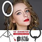 Neewer Ring Light Kit [Upgraded Version-1.8cm Ultra Slim]-18 inches,3200-5600K,Dimmable LED Ring Light with Light Stand, Phon