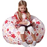 Aubliss Stuffed Animal Bean Bag Storage Chair, Beanbag Covers Only for Organizing Plush Toys, Turns into Bean Bag Seat for Ki
