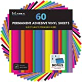 "Kassa Permanent Vinyl Sheets (Pack of 60, 12"" x 12"") - Includes Bonus Squeegee - Bundle of Assorted Colors (Matte & Glossy Cr"