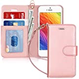 FYY Case for iPhone SE/iPhone 5S/iPhone 5, [Kickstand Feature] Luxury PU Leather Wallet Case Flip Folio Cover with [Card Slot