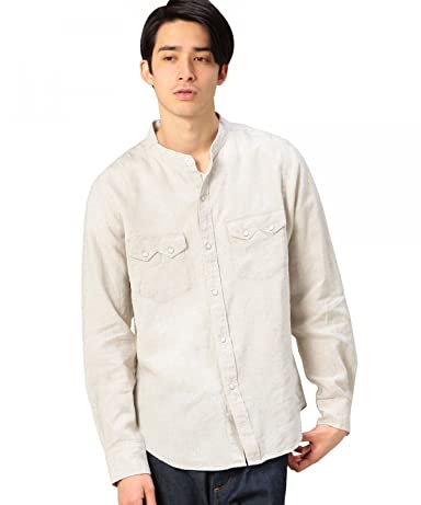 Linen Band Collar Western Shirt 1211-163-6620: Natural