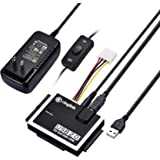 SATA IDE USB変換アダプタ 2.5/3.5インチ SATA IDE HDD SSD DVD 光学ドライブ対応 最大2TB USB2.0 480Mbps 電源アダプタ付き