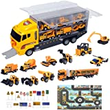 ZCOINS Construction Trucks 11 in 1 Vehicles with Car Met and Road Sign Sticker Car Toys for Over 3 Year Old Boys