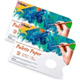 2 Pack Disposable Palette Paper Pad, Ohuhu 21X30 CM,68 LB/105 GSM Heavy Duty Palette Paper, Glue-Bound, Bleed-Proof Double-Si