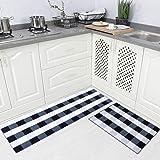 Carvapet 2 Piece Non-Slip Kitchen Rug TPR Anti-Slip Backing Mat for Doorway Bathroom Runner Rug Set, Buffalo Plaid Check Desi
