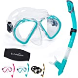 OMGear Snorkel Set Snorkeling Gear Package Diving Set Premium Silicone Dive Mask Snorkel Equipment Goggles Anti-Fog Anti-Leak