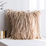 MIULEE Pack of 2 Decorative New Luxury Series Style Brown Faux Fur Throw Pillow Case Cushion Cover for Sofa Bedroom Car 20 x