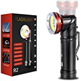 WARSUN Flashlight,Rechargeable Tactical Flash Light,1000Lumens COB LED Two Lighting Sources, Magnetic Flashlight with Clip, W