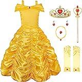 JerrisApparel Princess Belle Off Shoulder Layered Costume Dress for Little Girl