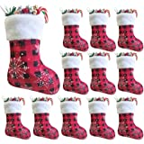 Vanteriam 7 inch Mini Christmas Stockings 12 Pack, Small Rustic Red & Black Plaid with Snowflake and Faux Fur Cuff Xmas Stock
