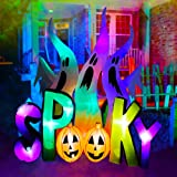 SEASONBLOW 8 ft Halloween Inflatable Ghosts with Spooky Pumpkin LED Lighted Airblown Blow Up Decoration for Lawn Yard Garden