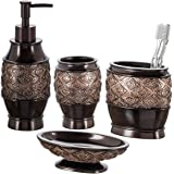 Creative Scents Dublin 4-Piece Bathroom Accessories Set, Includes Decorative Countertop Soap Dispenser, Dish, Tumbler, Toothb