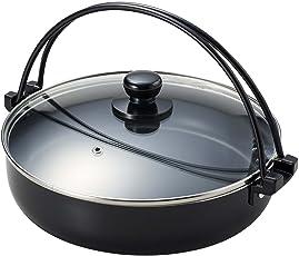 パール金属 すき焼き鍋 26cm ガラス鍋蓋付 IH対応 フッ素加工 贅の極み HB-183
