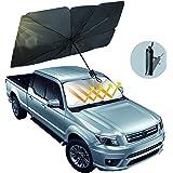 Car Windshield Sun Shade Umbrella, Foldable Car Umbrella Sunshade Cover Protect Vehicle from UV Sun and Heat, 57'' x 31'', Fi