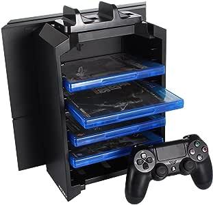 J-KONKY PS4多機能縦置きスタンド 12枚ソフト収納 コントローラー2台 置くだけ充電スタンド 騒音なし ブラック 縦置きスタンド ps4 スリム 縦置きスタンド たておき