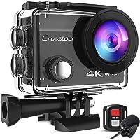 【進化版】Crosstour アクションカメラ 4K高画質2000万画素 webカメラ 水中カメラ 外部マイク リモコン…