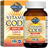 Garden of Life Raw D3 Supplement - Vitamin Code Whole Food Vitamin D3 5000 IU, Dairy and Gluten Free, Vegetarian, 60 Count Ca