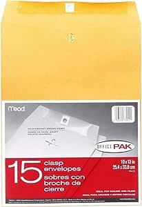 Mead クラスプ封筒 10インチ x 13インチ ブラウンクラフト オフィスパック 15枚入り (76022)