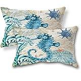 "ULOVE LOVE YOURSELF Pillow Cover Home Decorative Cushions Cotton Linen Throw Cushion Case, Cotton Linen, Yz-sea Horse, 18""×18"